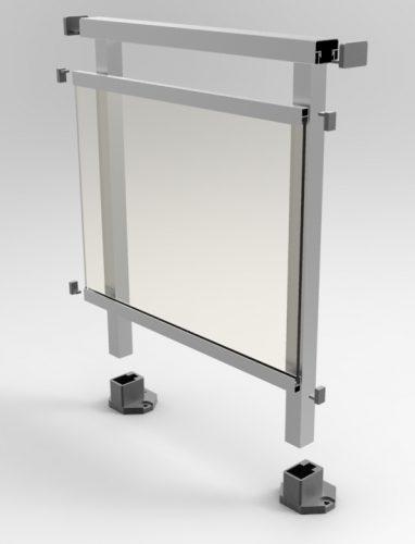 imagen de una barandilla de vidrio enmarcado