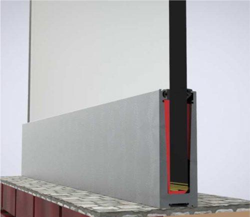 fotografia de una instalacion en superficie para barandilla de vidrio enmarcado